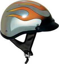 D.O.T CHROME FLAME MOTORCYCLE HALF HELMET BEANIE HELMETS SHORTY LIGHTER NEW