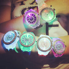 5 colours light LED Rhinestones Analogue Women Men Quartz Lover Watch Wristwatch