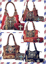Rhinestone Cross Flowers Women's Handbag Purse With Matching Wallet in 2 Colors