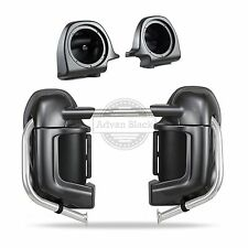 """Charcoal Pearl Lower Vented Fairing +6.5""""Speaker Pods Fit Harley Touring 83-16"""
