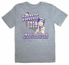 Adult Heather Gray The Hangover Weekend Forecast Mostly Drunk Horny T-shirt Tee