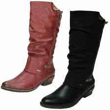 RIEKER 93655 LADIES CASUAL EVERYDAY WEAR ROUND TOE WARM LINED KNEE HIGH BOOTS
