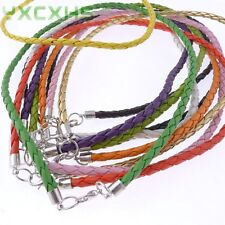 50pcs mixed colors braided leather cord necklace w lobster clasp 4mm