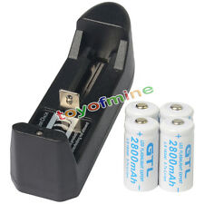 4x 16340 CR123 3.7V 2800mAH GTL Li-ion Rechargeable Battery Cell + Smart Charger