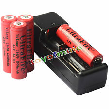 4x 4.2V 18650  Li-ion 6000mAh Rechargeable Battery + Charger