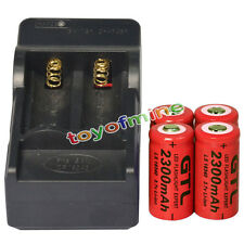 4 CR123A 3.7V 2300mAh 16340 123A Rechargeable Battery Cell Red + Smart Charger