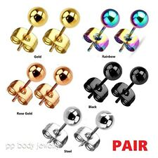 PAIR 3mm to 7mm Hollow Ball Ion Plated 316L Surgical Steel Stud Earrings