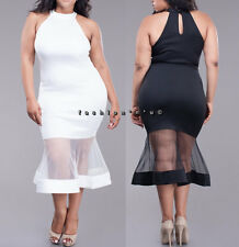 Plus Size Black White Mesh Mermaid Bodycon Dress Sleeveless Halter