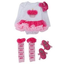 New Baby Girls Party Clothing Set Romper + Socks + Shoes 3 Pcs/Set Outfit