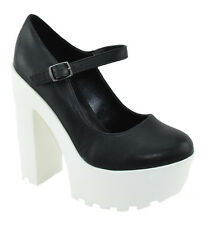 Soda Women Ankle Strap Chunky Heels Mary Jane Big White Platform Black GRAPE-S