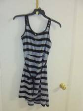 WOMAN'S JUNIORS NWT NEW  SIZE LARGE 11 13 STRIPED BLACK GRAY SUMMER DRESS
