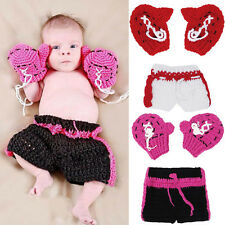 Newborn Baby Crochet Knit Boxing Glove Costume Photography Prop Outfits Cute