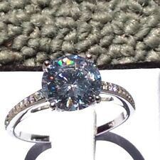 3.8ct (10mm) Round Cut Cubic Zirconia 925 Sterlin Silver Engagement Ring Sz 4-11
