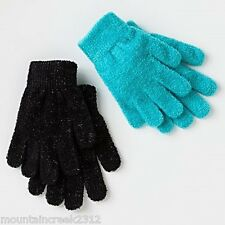 Girls Gloves Size S 4-7 Sparkly Chenille Knit 2 Pair Jumping Beans NEW