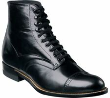 Madison Black Stacy Adams Ankle Boot Biscuit Wide Cap Toe Lace Up  00015-01 EE