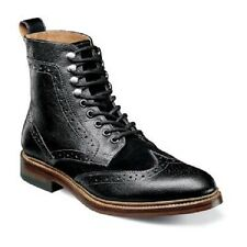 Madison II Stacy Adams Mens boot Black leather Lace up Wing tip silhouette 00069