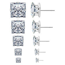 5Pair Stainless Steel Unisex Stud Earring Princess Cubic Zircon Matching Backing