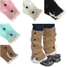 Kids Girl Crochet Knitted Lace Cuffs Leg Warmer Socks Winter Boot Socks