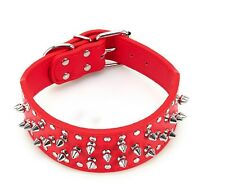2 inch Wide Studded Pu Leather Dog Collar for  Medium to Large Dogs Red