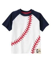 GYMBOREE ALL STAR CHAMP WHITE w/ BASEBALL LACES S/S TEE 6 12  24 3T 5T NWT