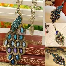 Fashion Bronze Style Peacock Blue&Green Crystal Chain Pendant Necklace EV