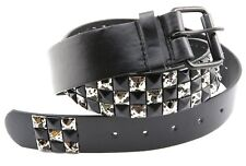 3 Row Black/Silver Metal Studded Mens Womens Punk Rock Biker Leather Belt Strap