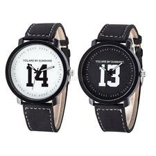 NEW Men Boy Women Girl Stainless Steel Band Leather Quartz Couples WristWatch