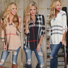 Womens Plaid Blouse V Neck Casual 3/4 Sleeve Loose Check T shirt Tunic Long Tops