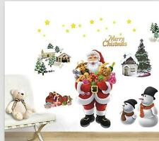Merry Christmas Santa Claus Snowman Wall Stickers Art Decal Decoration Removable