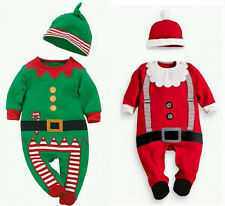New Infant Baby Boy Girl Christmas Outfit Fancy Dress Costume Romper Clothes Hat