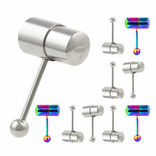 316L Surgical Steel Vibrating Tongue Ring Bar Stud Piercing Barbell +2 Batteries