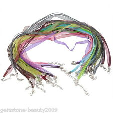 Wholesale HOT Lobster Clasp Organza Ribbon Waxen Cord Necklaces