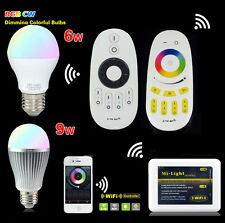 E27 Led Bulb Mi Light 2.4G Wireless RGBW 9W Dimmable Light+Wifi Remote 85V-265V