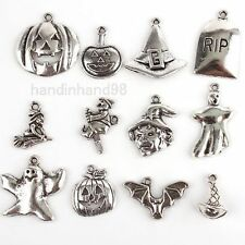 * ASSORTED PACKS OF SILVER TONE METAL ALLOY HALLOWEEN THEMED PENDANTS