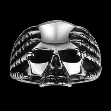 Stainless Steel Ring 316L polished Biker Ring BIG SCULL MC Harley Chopper (RE18)