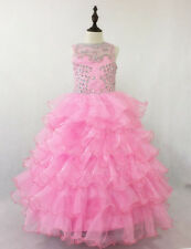 Birthday gift Flower Girl Dress Wedding Princess Prom Pageant Real Picture pink