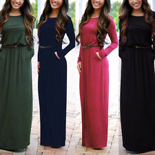 Womens Sexy Casual Long Dress Fashion Maxi Evening Party Beach Dress With Belt