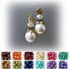 Earrings, pearl crystal petite drop gold, choose color and clip on or pierced
