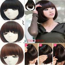 Women Thick Fringe Bangs Clip In On Hair Extensions Straight Bang Hair Extension