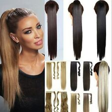 Real Wrap Around Jaw Clip in Hair Extension Tie Ponytail as Human Natural  H83