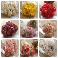 50 Artificial Mulberry Paper flowers Handmade Scrap-booking Tiny Rose 30mm #C