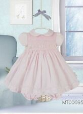 Pretty Originals  Smocked Pink Baby Dress with Headband  and Pants Style MT00695