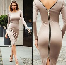 Women Sexy Long Sleeve Backless Dress Bodycon Cocktail Evening Dress Zipper