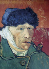 van Gogh Self-portrait with Pipe Large A2 size Canvas Art Print Poster Unframed