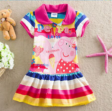 New Colorful Baby Kids Girls Peppa Pig Stripd RainBow Skirt Dress Tunic Clothes