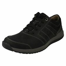 Mens Clark's Ryley Street Black Combi Lace Up Casual Shoes