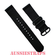 PREMIUM PVD ZULU® 2 Piece BLACK Military Divers watch strap band Nylon 3 Ring