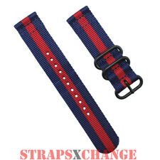 PREMIUM PVD ZULU® 2 Piece NAVY RED Military Divers watch strap band Nylon 3Ring