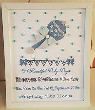 Personalised New Baby, Birth,Christening Girl Boy Framed Handmade Gift Keepsake