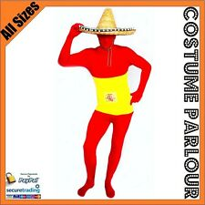 Spanish Flag Zentai Second Skin Spain Suit Fancy Dress Costume All Sizes
